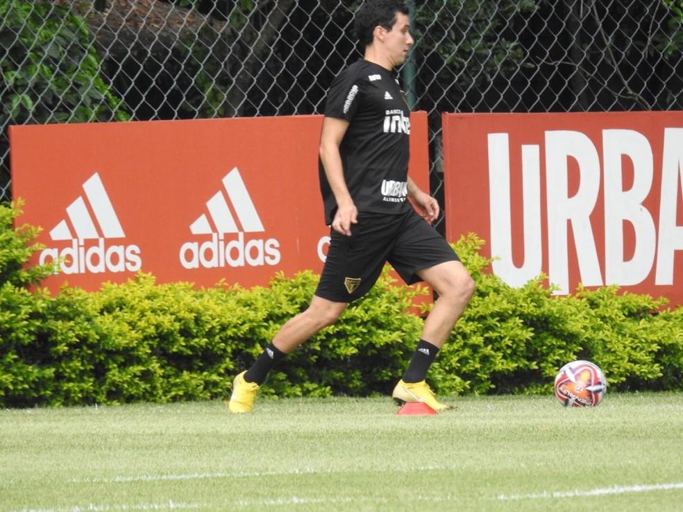 Pablo faz seu primeiro treino no São Paulo — Foto: Marcelo Hazan