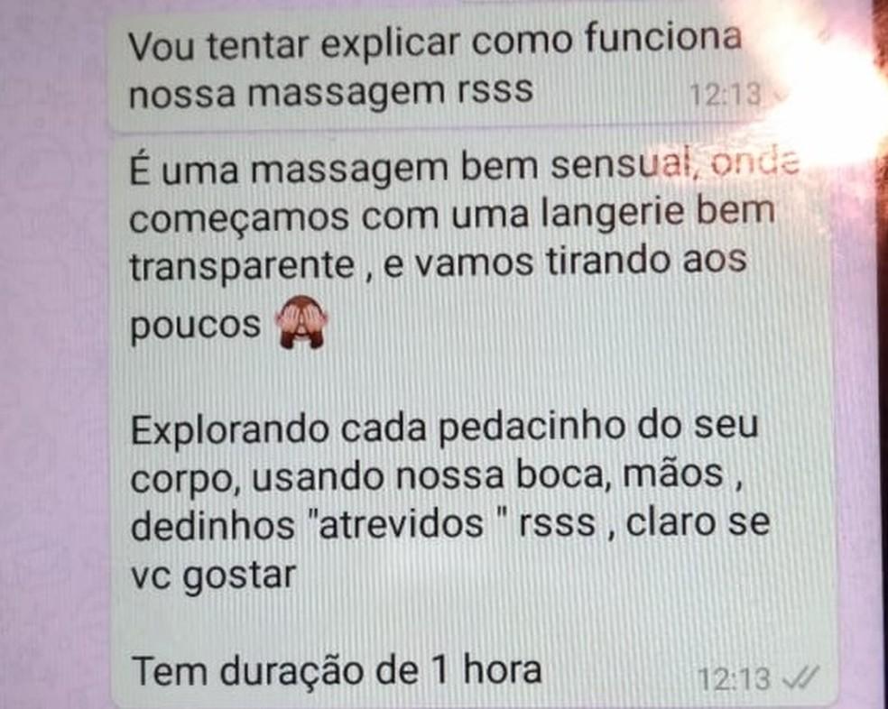 Trecho da conversa de WhatsApp entre massagista e cliente de casa desmontada pela Polícia Civil do DF (Foto: Polícia Civil do DF/Divulgação)