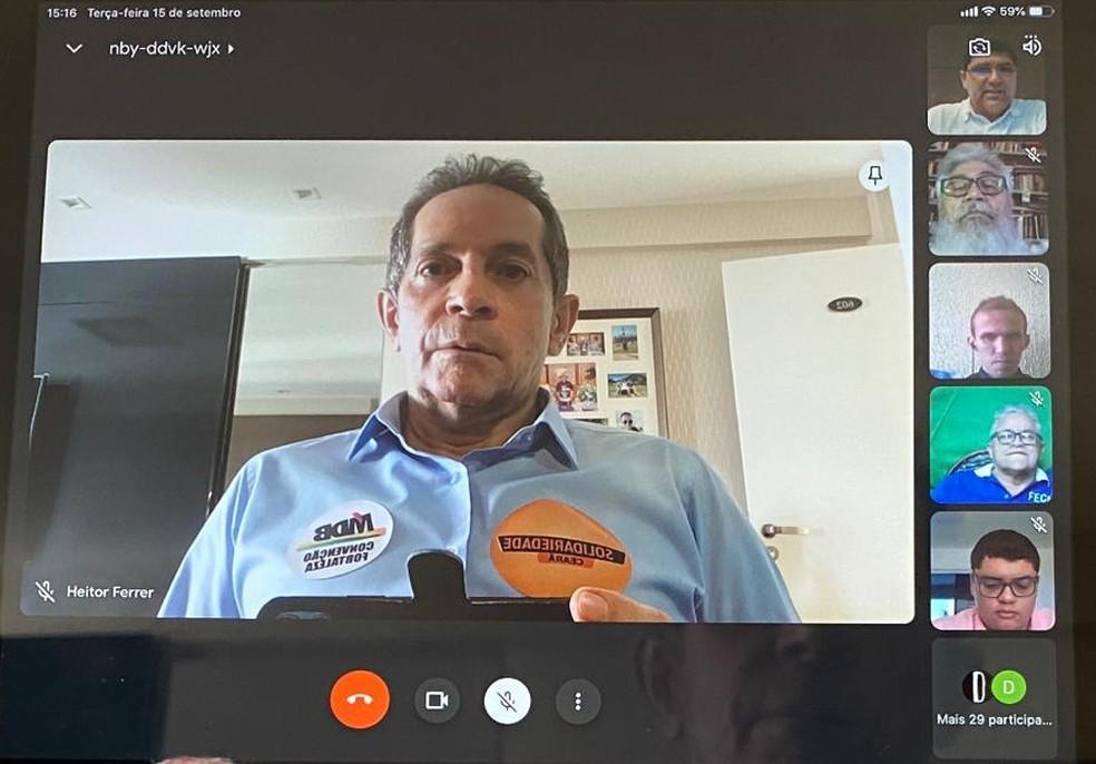 SD oficializou a candidatura de Heitor Férrer à Prefeitura de Fortaleza em convenção virtual — Foto: Reprodução