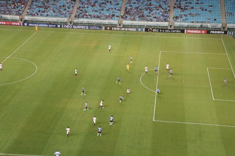 Onze jogadores do Grêmio dificultam  ataque do adversário. Compactação em pouco espaço (Foto: Eduardo Moura/GloboEsporte.com)