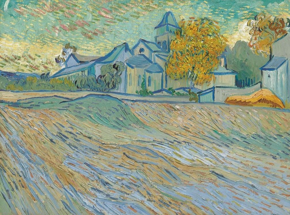 -  Vue de l  39;asile et de la Chapelle de Saint-Rémy  34;, quadro pintado por Vincent Van Gogh em 1889  Foto: Christie  39;s/Divulgação