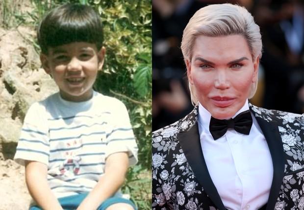 Rodrigo Alves, o Ken Humano, na infância e atualmente (Foto: Arquivo pessoal e Getty Images)