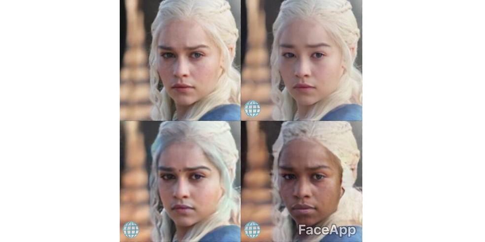 Daenerys Targaryen, personagem da atriz Emilia Clarke, na série 'Game of Thrones', com o rosto modificado por filtros do FaceApp — Foto: Reprodução/FaceApp