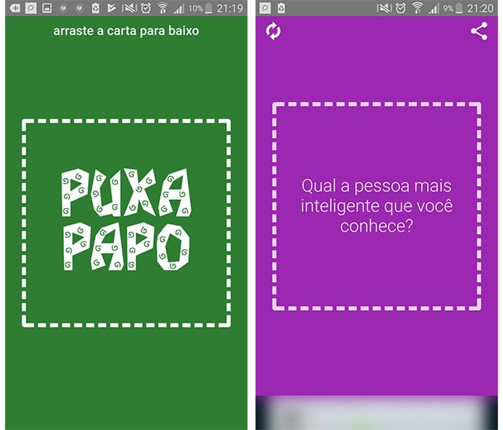 O aplicativo Puxa Papo pode funcionar também como um jogo de perguntas e respostas (Foto: Reprodução/Caroline Brizon)