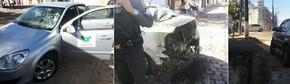 Após ser baleado, carro do governo pegou fogo (Foto: PM/Divulgação)