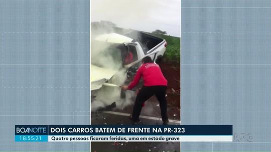 Quatro pessoas ficam feridas em acidente entre dois carros na PR-323