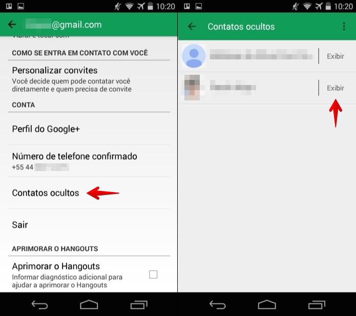 Reexibindo contato no aplicativo do Hangouts (Foto: Reprodução/Helito Bijora)