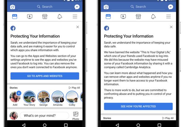 À direita, mensagem sobre apps com acesso às suas informações. À esquerda, notificação de que seus dados podem ter sido enviados à Cambridge Analytica (Foto: Divulgação/Facebook)
