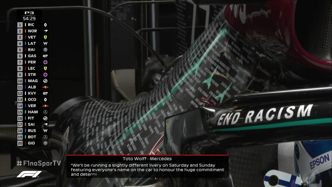 Mercedes estampa os nomes dos funcionários no carro para GP de Abu Dhabi