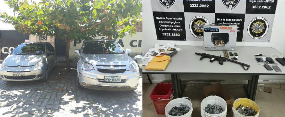 Material foi apreendido com suspeito de vários assaltos no Nordeste (Foto: Divulgação/Polícia Civil)