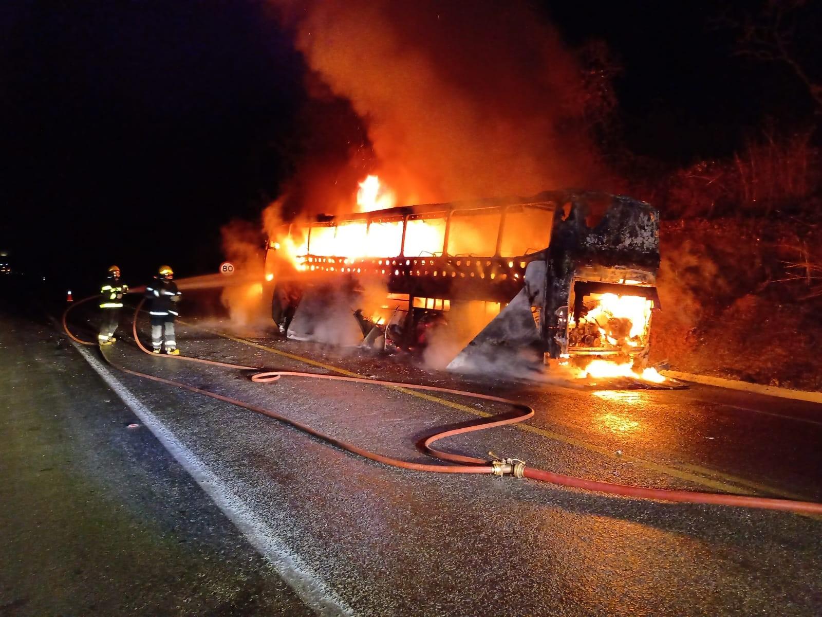 Ônibus que transportava 46 passageiros de SP para BA pega fogo na BR-251