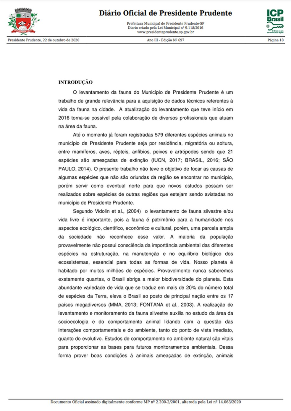 Levantamento prévio da fauna em Presidente Prudente foi publicado nesta quinta-feira (22) no Diário Oficial do Município, pág. 3 — Foto: Reprodução