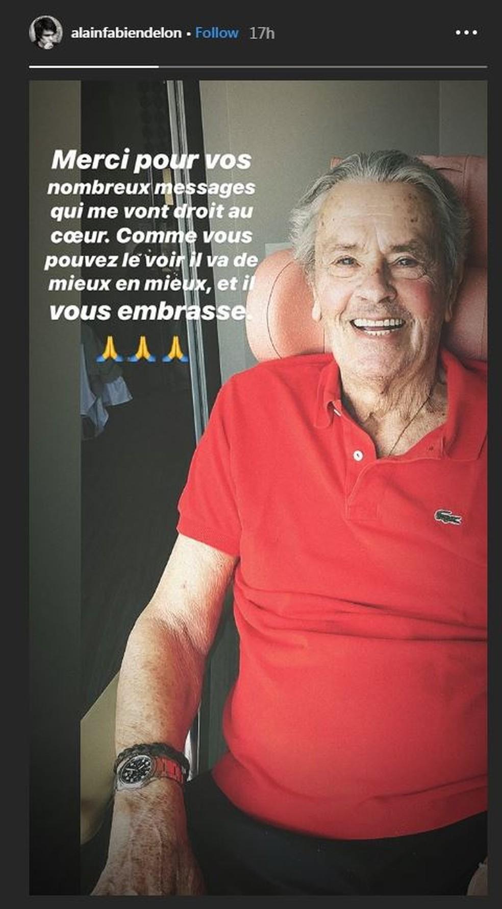 Alain Delon está 'cada vez melhor', afirma filho, após ator francês sofrer um AVC — Foto: Reprodução/Instagram
