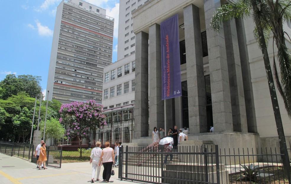 Biblioteca Mário de Andrade, na região central da cidade, vai receber espaço de coworking em prédio na rua lateral — Foto: Fabiano Correia