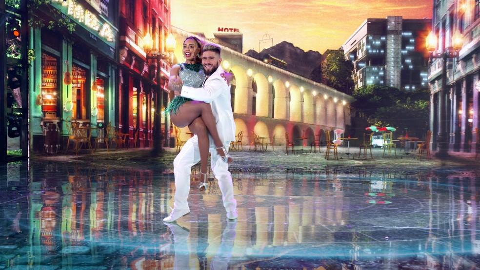 Dandara Mariana e Diego Maia dançam samba no 'Super Dança dos Famosos'  — Foto: Globo