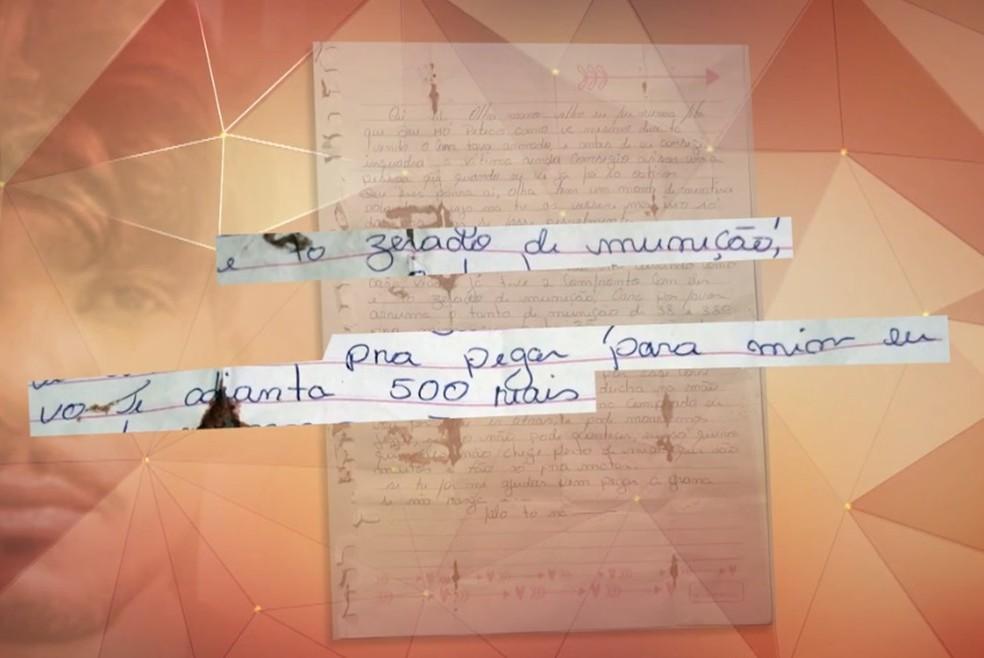 Carta encontrada com Lázaro cita detalhes de crime, investigadores acreditam que pode se referir à Família Vidal — Foto: TV Globo/Reprodução