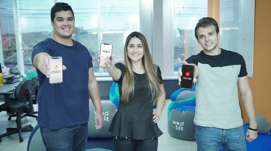 Renan Villar, Bruna Pereira e Conrado Von Held, Fundadores da Wed.Biz (Foto: Divulgação )