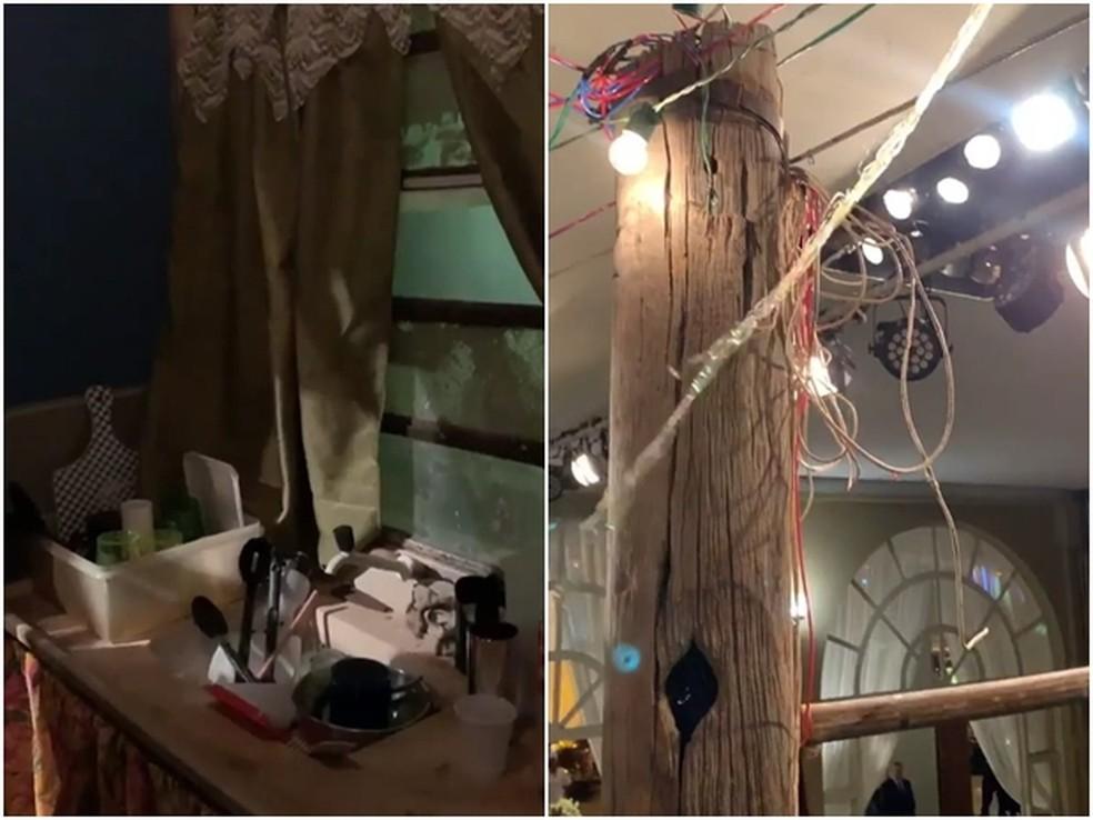 Pia e postes de madeira estavam no cenário retratado em festa em Rio Preto  — Foto: Reprodução/Instagram