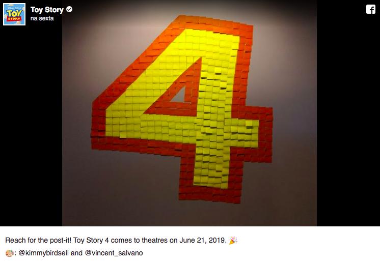 Número 4 feito de post-its para anunciar data de lançamento de Toy Story 4 (Foto: Reprodução)