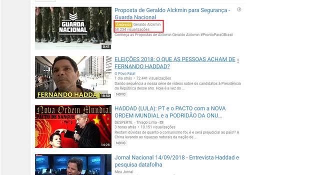 Página do YouTube com Geraldo Alckmin (PSDB) em link patrocinado em busca para Fernando Haddad (PT) (Foto: Reprodução/YouTube)