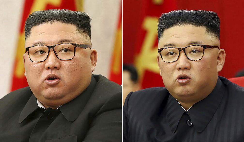 Montagem com fotos de Kim Jong-un em 8 de fevereiro (esquerda) e 15 de junho deste ano evidencia rosto mais magro do ditador norte-coreano — Foto: KCNA via AP