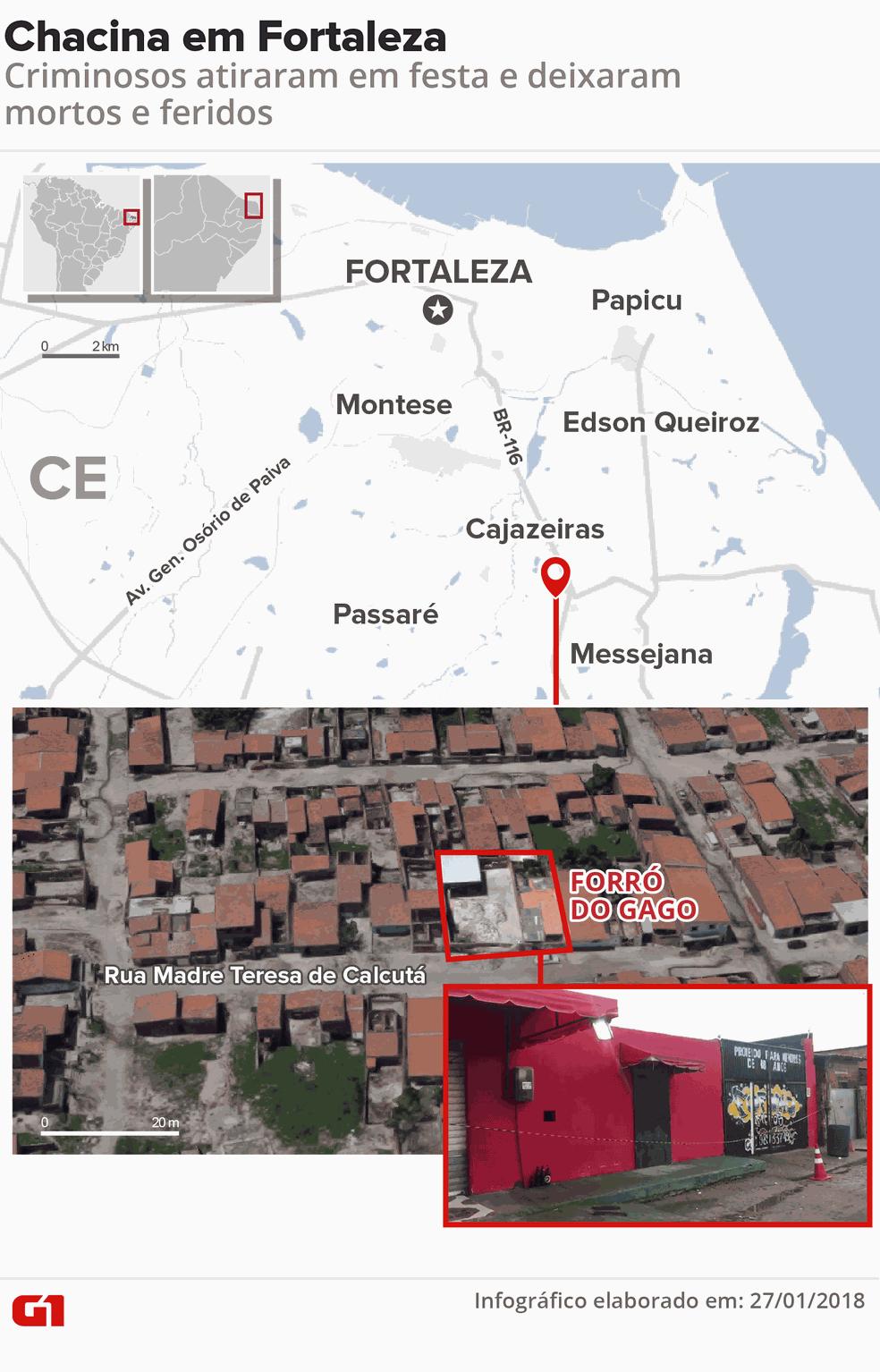 Grupo armado invade festa e deixa mortos e feridos em Fortaleza. (Foto: Infográfico: Karina Almeida/G1)