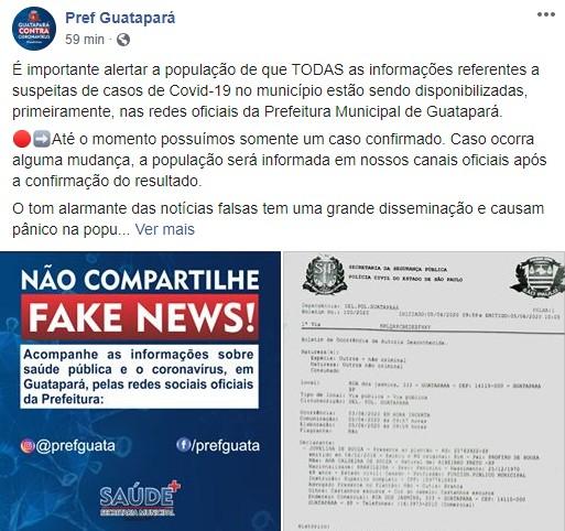 Secretária de Saúde de Guatapará, SP, faz alerta para boletim falso de Covid-19 com nomes de pacientes