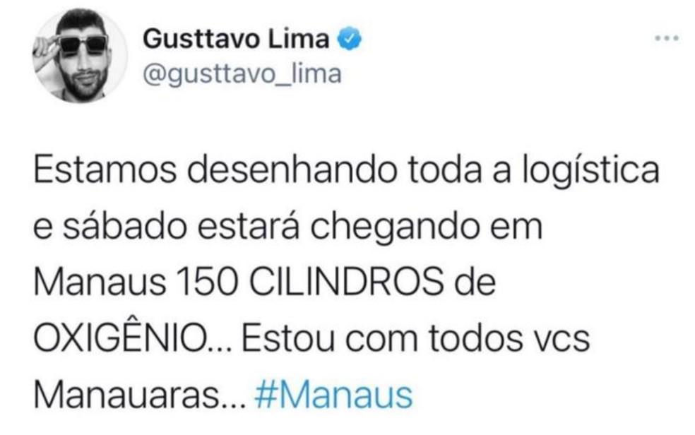 Gusttavo Lima posta envio de oxigênio de Goiânia para pacientes com Covid-19 em Manaus — Foto: Reprodução/Twitter