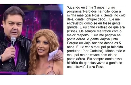 Luiza Possi, que já participou do 'Show dos famosos', conta que Faustão a buscava na ponte aérea Reprodução