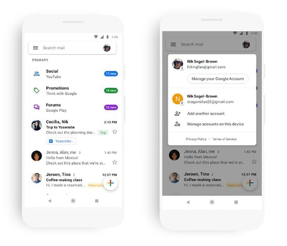 Google anuncia mudança no Gmail para celular com design mais