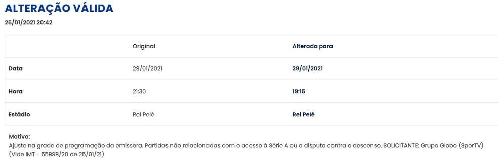 CBF muda horário do jogo entre CRB e Cuiabá, pela 38ª rodada do Brasileiro — Foto: Divulgação/CBF