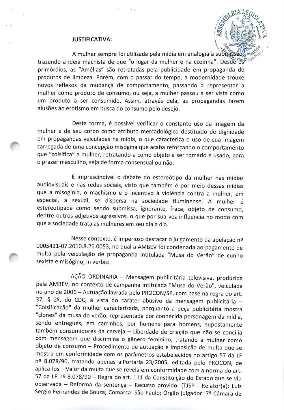 Justificativa do projeto de lei na Paraíba se refere à sociedade do Rio de Janeiro — Foto: Reprodução