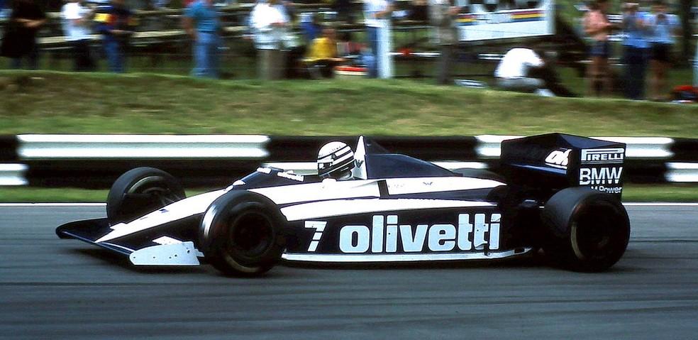 Riccardo Patrese guia Brabham-BMW BT54 em Brands Hatch, em 1986 — Foto: Reprodução/rede social