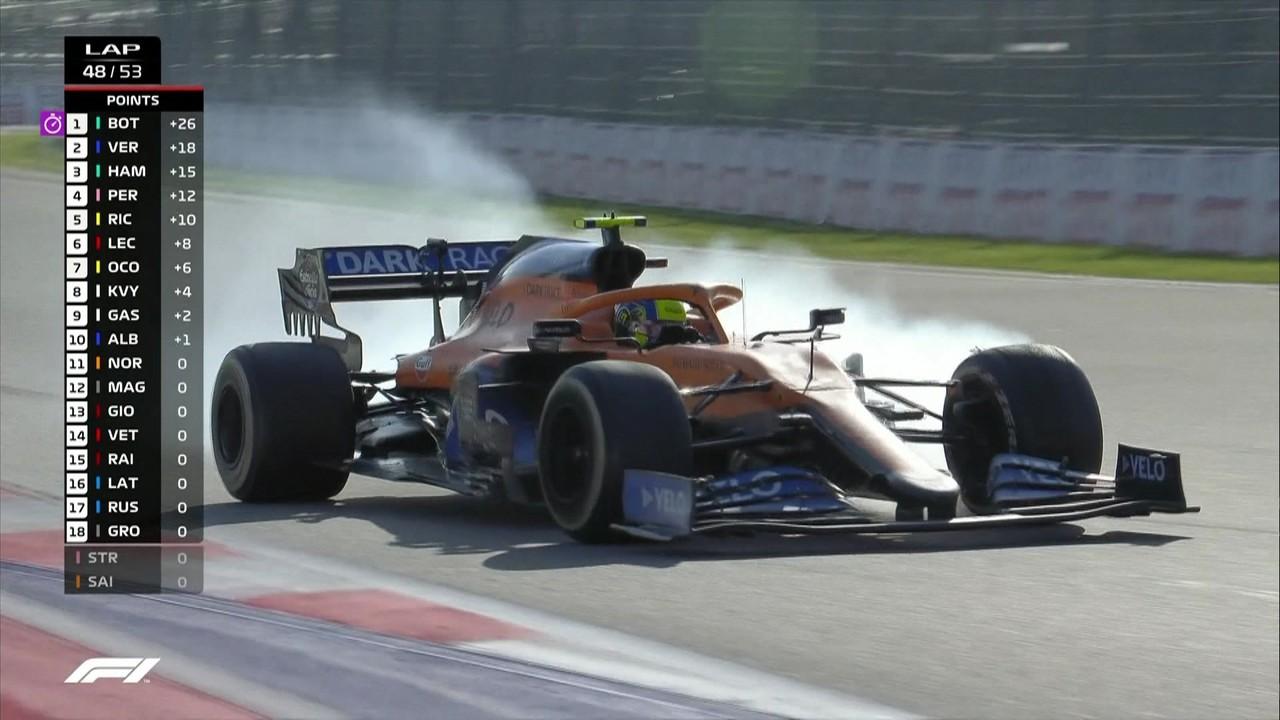 Norris passa reto, perde posição para Albon e faz pit stop no GP da Rússia