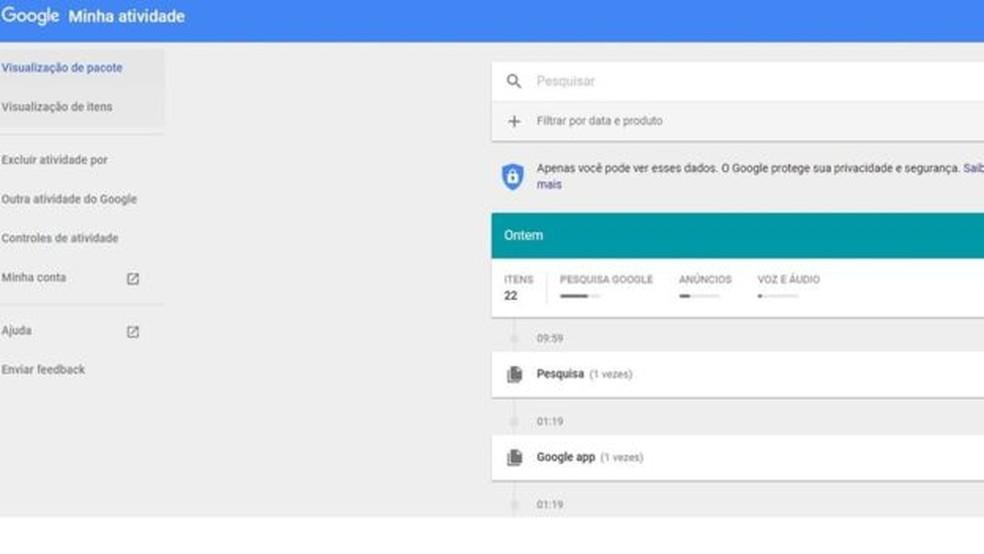 Página mostra informações que o Google mantém sobre você — Foto: Reprodução