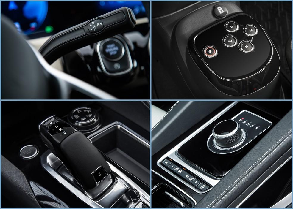 Diversos tipos de alavancas invadiram o mercado: na coluna de direção, no Mercedes-Benz Classe A; de botões, no Fiat Mobi GSR; de toques, no Peugeot 3008; e botão giratório, no Jaguar F-Pace. — Foto: Divulgação