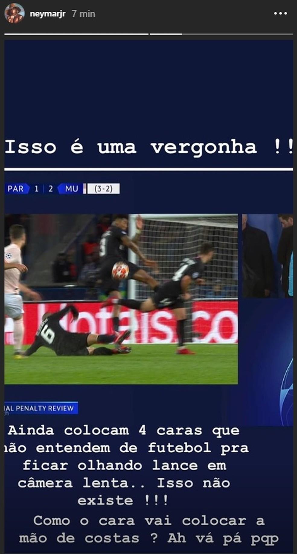Post de Neymar em que reclama da arbitragem por pênalti marcado contra o PSG, em março passado — Foto: Reprodução/Instagram