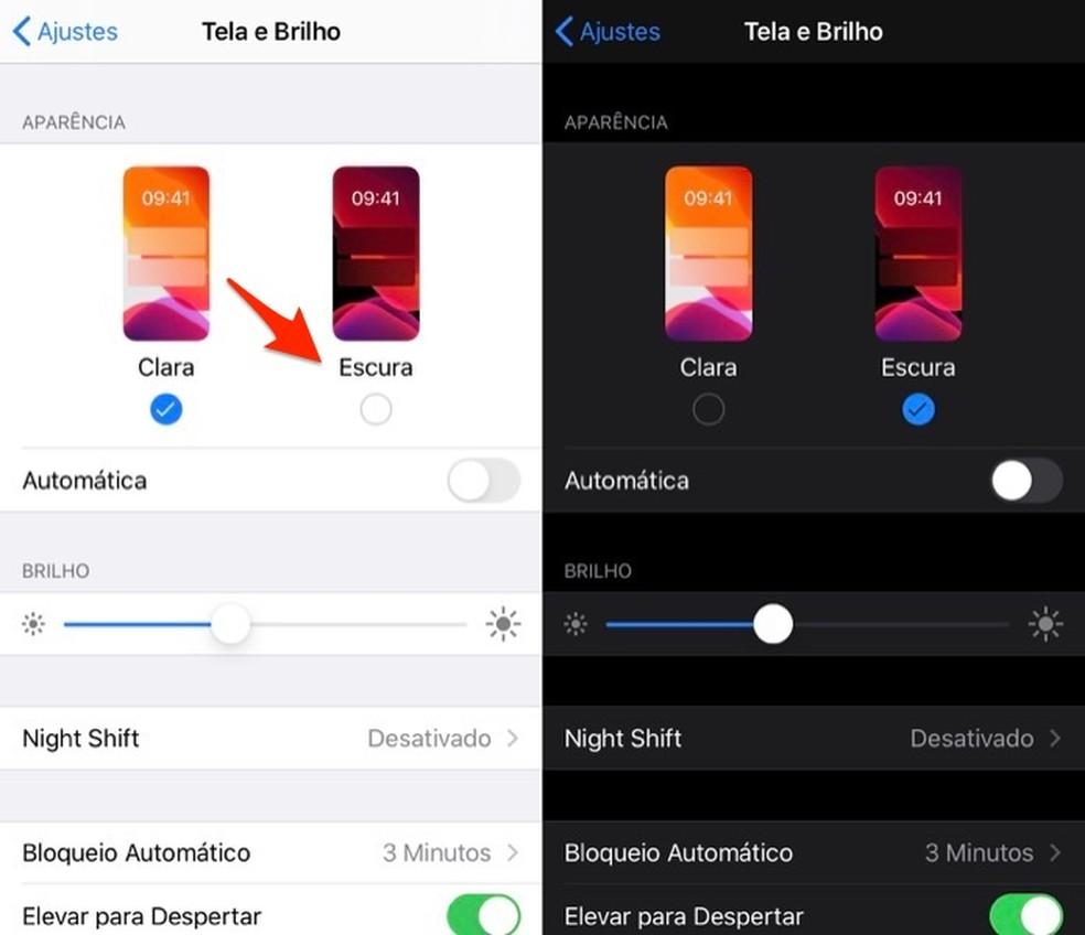 Opção de modo escuro no iOS 13 deixa o WhatsApp preto no iPhone — Foto: Reprodução/Marvin Costa