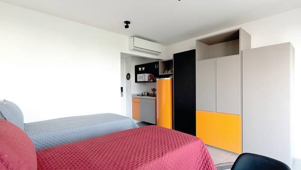 Dormitório de prédio para coliving na Vila Olímpia, em São Paulo (Foto: Divulgação)