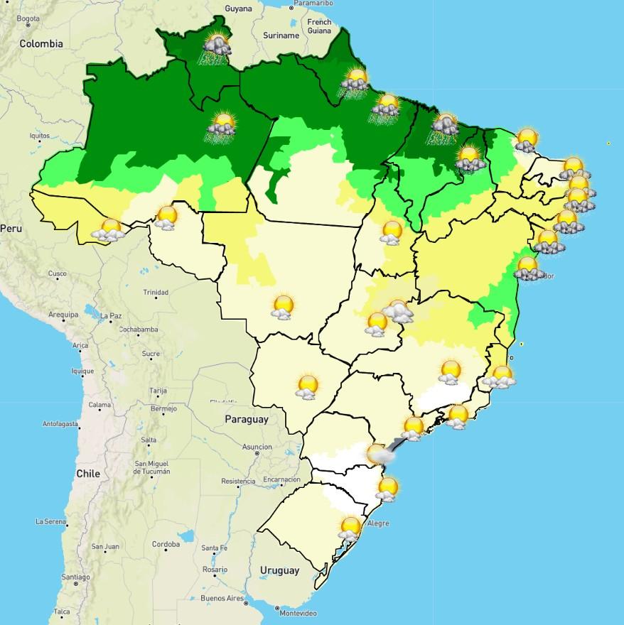 Mapa do Brasil feito pelo Inmet aponta tempo frio no Sul e Sudeste brasileiro nesta segunda-feira (14/6) (Foto: Inmet)
