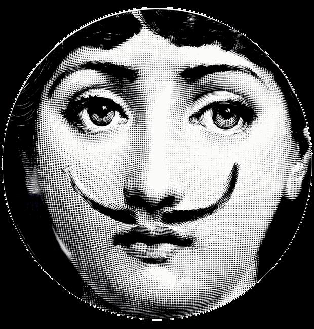Lina Cavalieri - ou seria Lina Dali? Os bigodes do artista surrealista foram incluídos na coleção (Foto: Fornasetti/Reprodução)