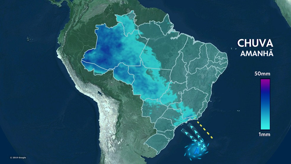 Previsão de chuva Brasil 09/10/19 — Foto: Reprodução TV GLOBO