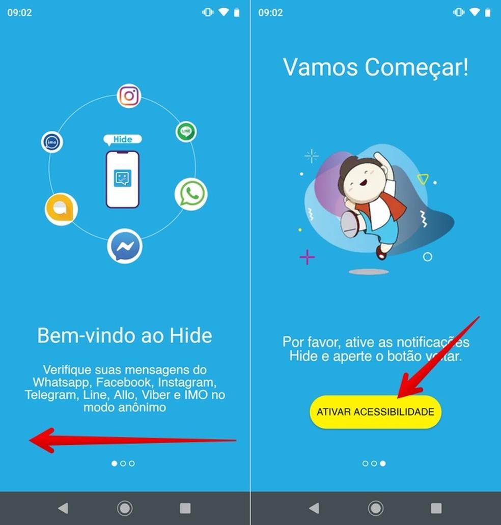 Telas de introdução do app Hide — Foto: Reprodução/Helito Beggiora