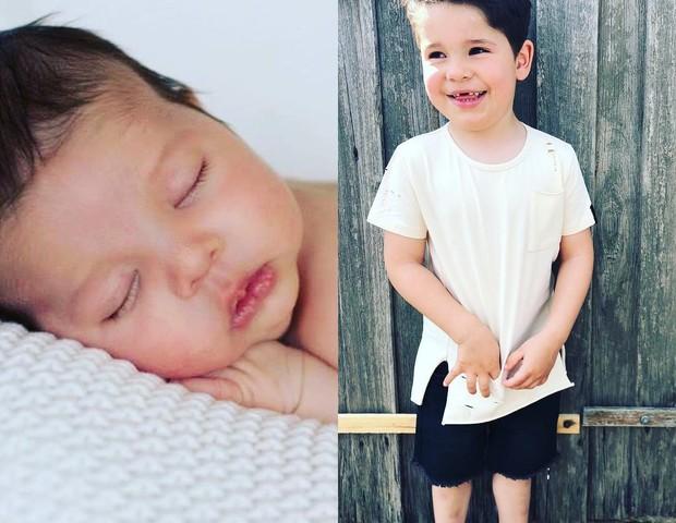 O pequeno Luca recém-nascido (à esquerda) e aos 4 anos (à direita) (Foto: Reprodução Instagram)