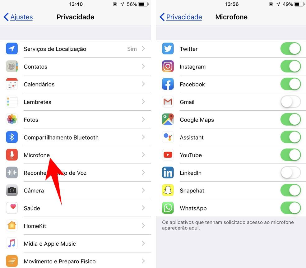 Configuração acesso ao microfone em apps do iPhone — Foto: Reprodução/Rodrigo Fernandes