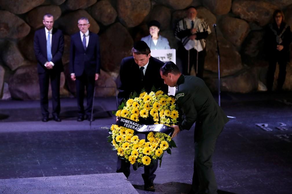 Bolsonaro homenageia as vítimas do Holocausto em museu em Israel â?? Foto: Reuters/Ronen Zvulun