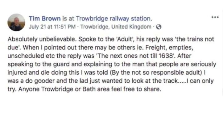 Post de Tim Brown nas redes sociais (Foto: Reprodução Facebook)