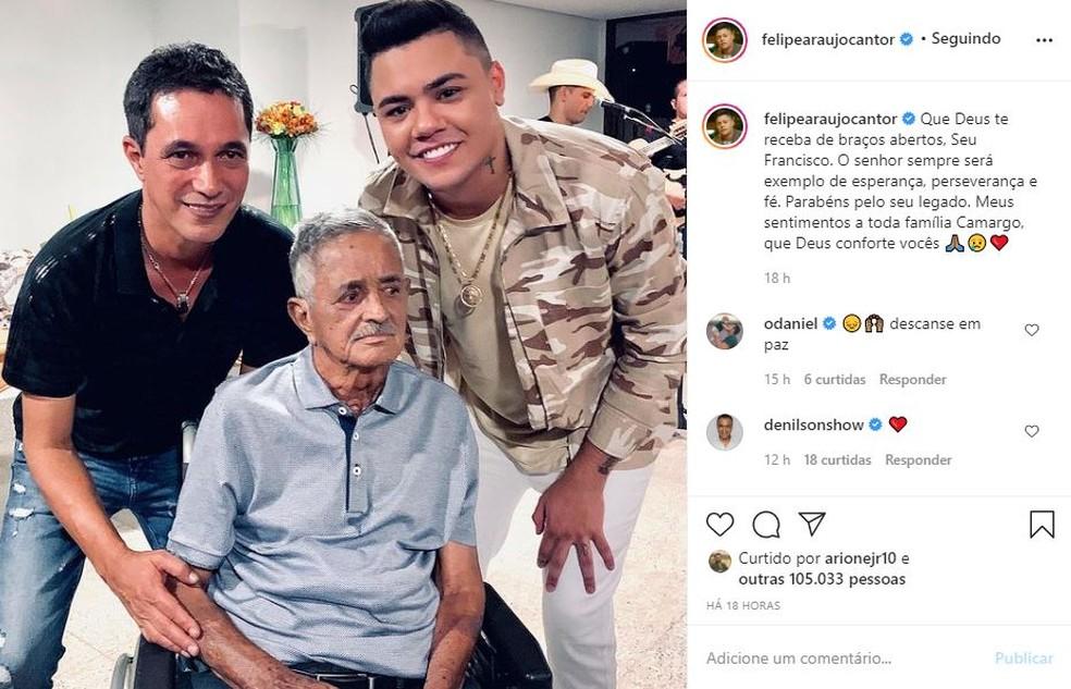 Felipe Araújo destaca legado deixado por Seu Francisco — Foto: Reprodução/Instagram