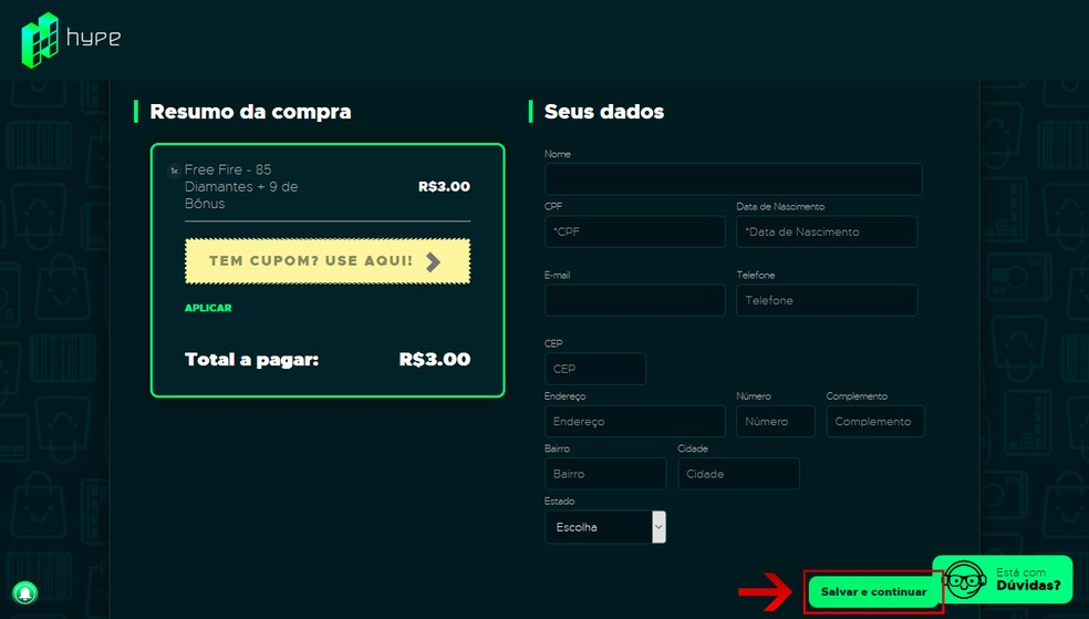 """Fill in your personal details and click on """"Save and continue"""" - Photo: Reproduction / Leandro Eduardo"""
