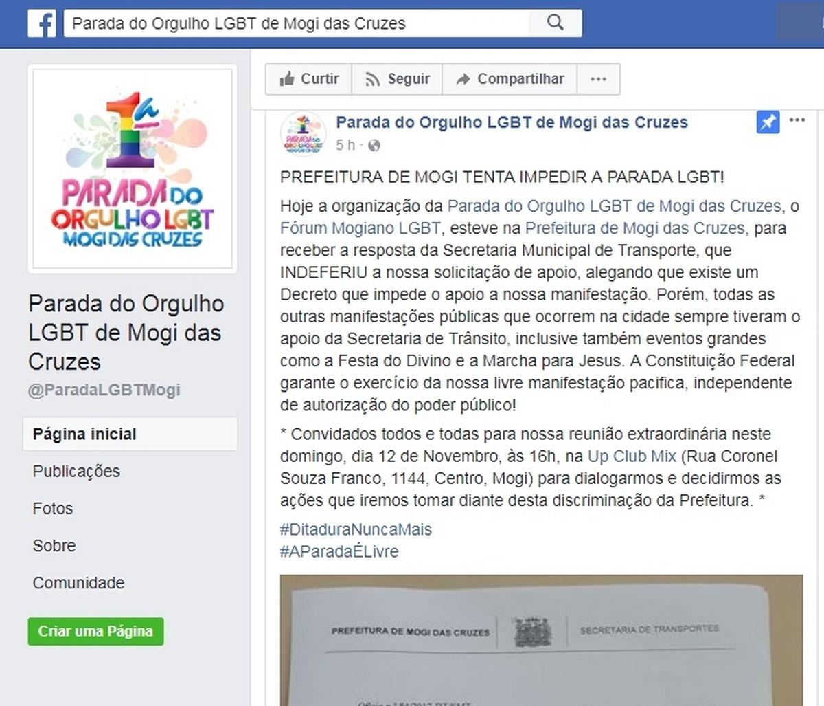 Por causa de data, autorização para Parada Gay em Mogi é negada; Fórum LGBT acusa Prefeitura de discriminação